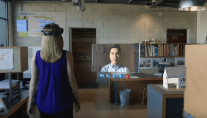 Image of Skype for Business in the Microsoft HoloLens